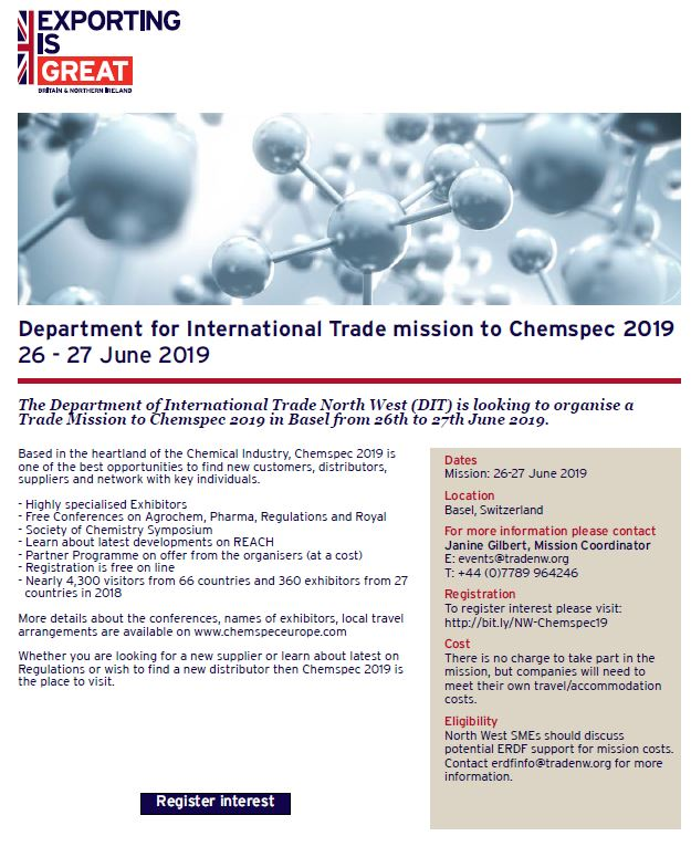 Department for International Trade mission to Chemspec 2019